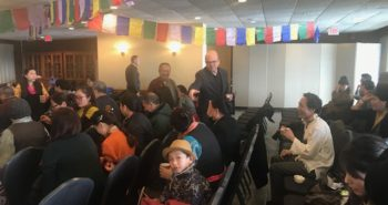 Congressman Jim McGovern meeting the Tibetan Americans gathered in Amherst before the event began